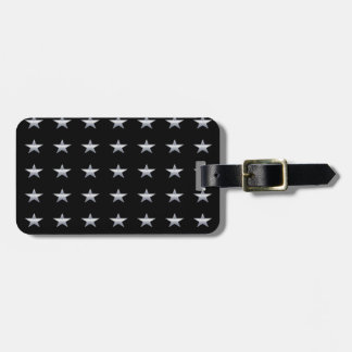 Lucky Stars Black With Silver Stars Design Luggage Tag