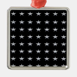 Lucky Stars Black With Silver Stars Design Metal Ornament