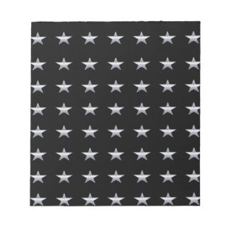 Lucky Stars Black With Silver Stars Design Notepad