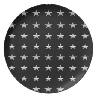 Lucky Stars Black With Silver Stars Design Plate
