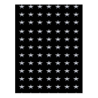 Lucky Stars Black With Silver Stars Design Postcard
