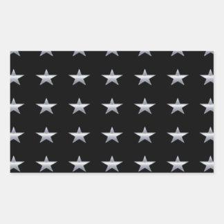 Lucky Stars Black With Silver Stars Design Rectangular Sticker