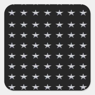 Lucky Stars Black With Silver Stars Design Square Sticker