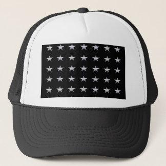 Lucky Stars Black With Silver Stars Design Trucker Hat