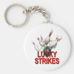Lucky Strikes Bowling Basic Round Button Key Ring