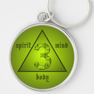Lucky Three Green Triangle Mind Body Spirit Key Ring