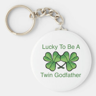 Lucky To Be Twin Godfather Basic Round Button Key Ring