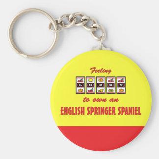Lucky to Own an English Springer Spaniel Basic Round Button Key Ring