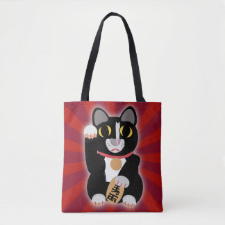 Lucky Tuxedo Cat Bold Tote Bag