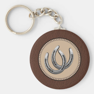Lucky Western Silver Horseshoes Key Ring