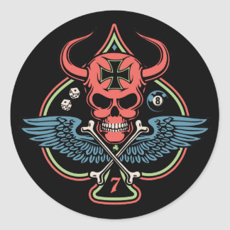 Lucky Winged Maltese Devil Skull of Spades Round Sticker