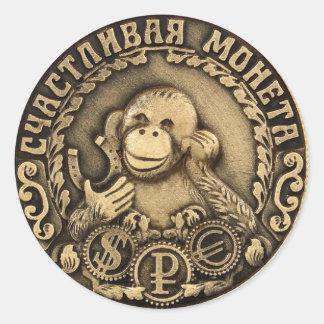 luckymonkey round sticker