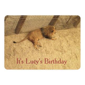 "Lucys Birthday Lion Invitations 5"" X 7"" Invitation Card"
