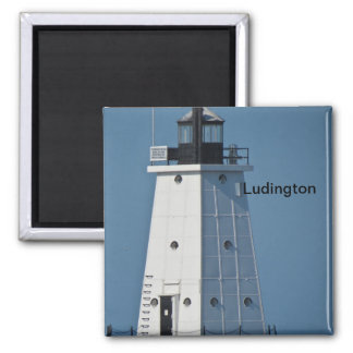 Ludington Breakwater Light Square Magnet