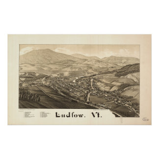 Ludlow Vermont 1885 Antique Panoramic Map Poster