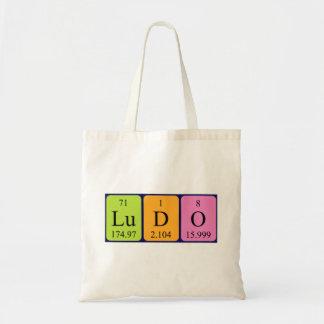Ludo periodic table name tote bag