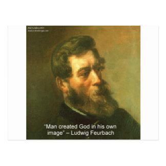 Ludwig Feurbach & Man Created God Quote Postcard