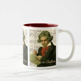 Ludwig Van Beethoven ~ Beethoven Collage Two-Tone Coffee Mug