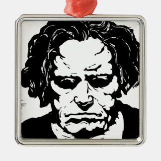 Ludwig van Beethoven - famous German composer Silver-Colored Square Decoration