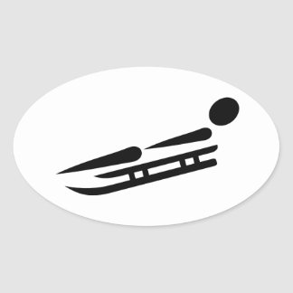Luge racing icon oval sticker
