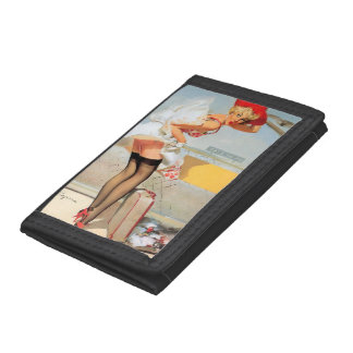 Luggage accident pinup girl trifold wallet