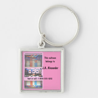 Luggage Bag Tag Pink Slot Machine Silver-Colored Square Key Ring