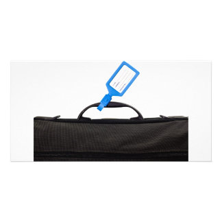 Luggage bag with identification tag photo card
