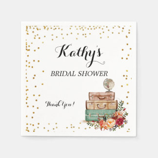 Luggage from miss to Mrs Bridal Shower Napkins Disposable Serviette