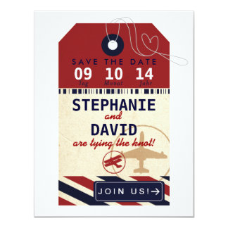 Luggage Tag Airmail Save Date German Deutsch Card