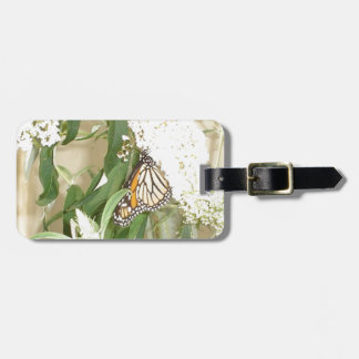 Luggage Tag Butterfly white flowers