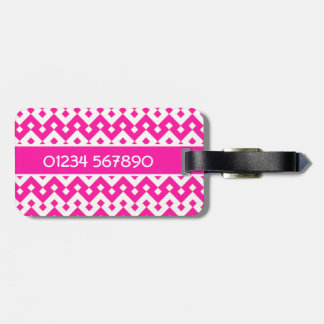 Luggage Tag, Candy Pink Geometric Luggage Tag