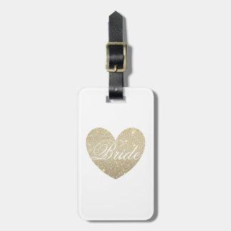 Luggage Tag | Glitter Heart Bride white