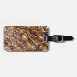 Luggage Tag- Natural Earthtones, Bronze Bead Print Luggage Tag