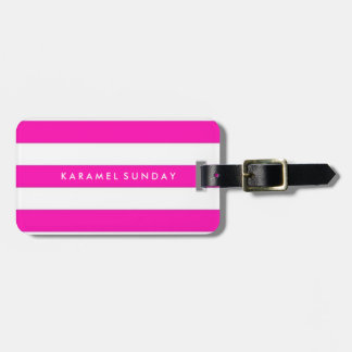 Luggage Tag - Nautical Stripes Pink