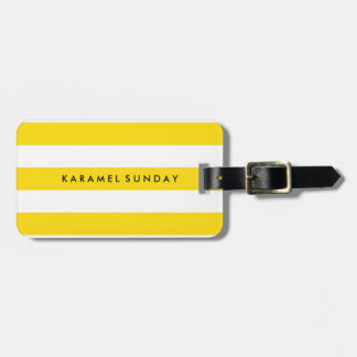 Luggage Tag - Nautical Stripes Yellow