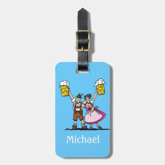 Luggage Tag Oktoberfest Beer Couple Cheers