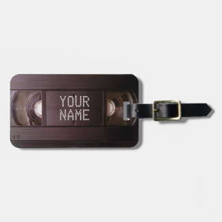 Luggage tag retro tech vhs video cassette