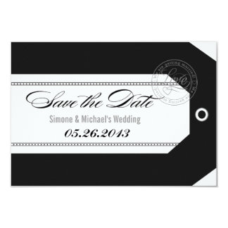 Luggage Tag Save the Dates classic black and white Card