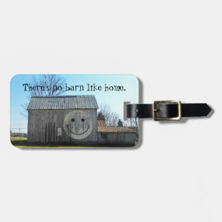 Luggage Tag Vintage Americana Smiley Face Barn