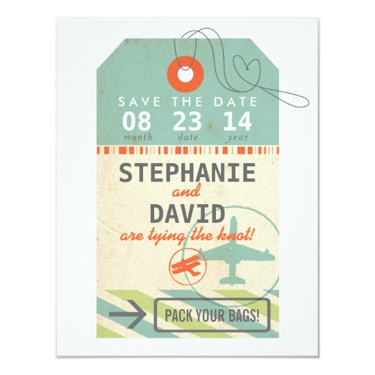 Luggage Tag Vintage Destination Wedding Save Date Card