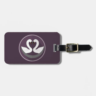 Luggage Tag w/ leather strap LOVE SWANS