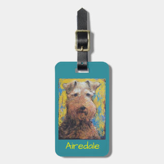 Luggage tag with Airedale