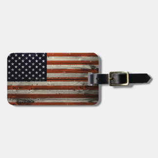 Luggage Tag  with American Wood Flag Print