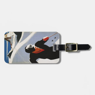 Luggage Tag with Canadian Rockies Ski Print
