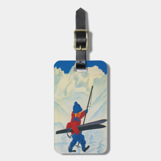 Luggage Tag with Cute Vintage Ski Print