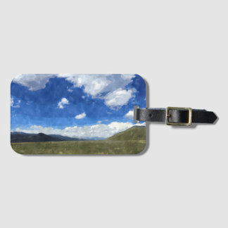 Luggage Tag with gorgeous watercolor landscape