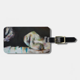 Luggage tag with painting of a woman