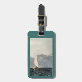 Luggage tag with Sailboat in grays