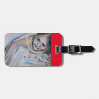 Luggage tag with the painting 'Flowerdress'