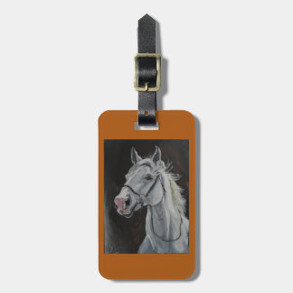 luggage tag with white horse